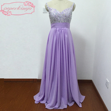 Cheap Maid Of Honor Dresses Long Sweetheart Neckline Beading Sequins A Line Chiffon Purple Bridesmaid Dresses Real Picture