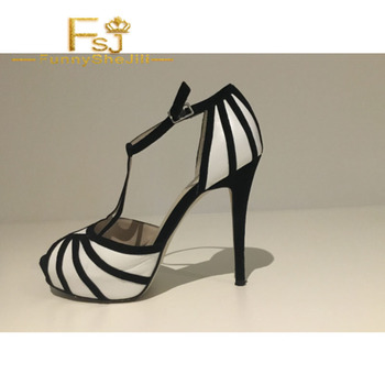 Mixed-colour Stripes T-Strap Platform Heels Open Toe Stiletto Heel Sandals Summer Autumn Carnival Elegant Shoes Woman 4-16 FSJ