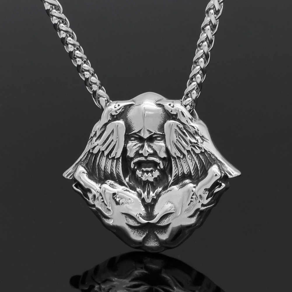 Mannen rvs noorse viking odin wolf raven Scandinavische amulet hanger ketting