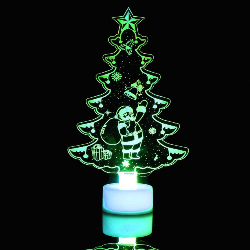 Christmas tree LED decorations Santa Claus Multi Color LED Light changing Clear Acrylic Christmas Tree Mood Lamp Night 2O1122