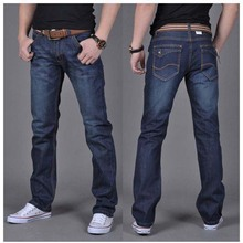 Free shipping Autumn and winter men's denim jeans straight pants jeans men in dark blue high quality