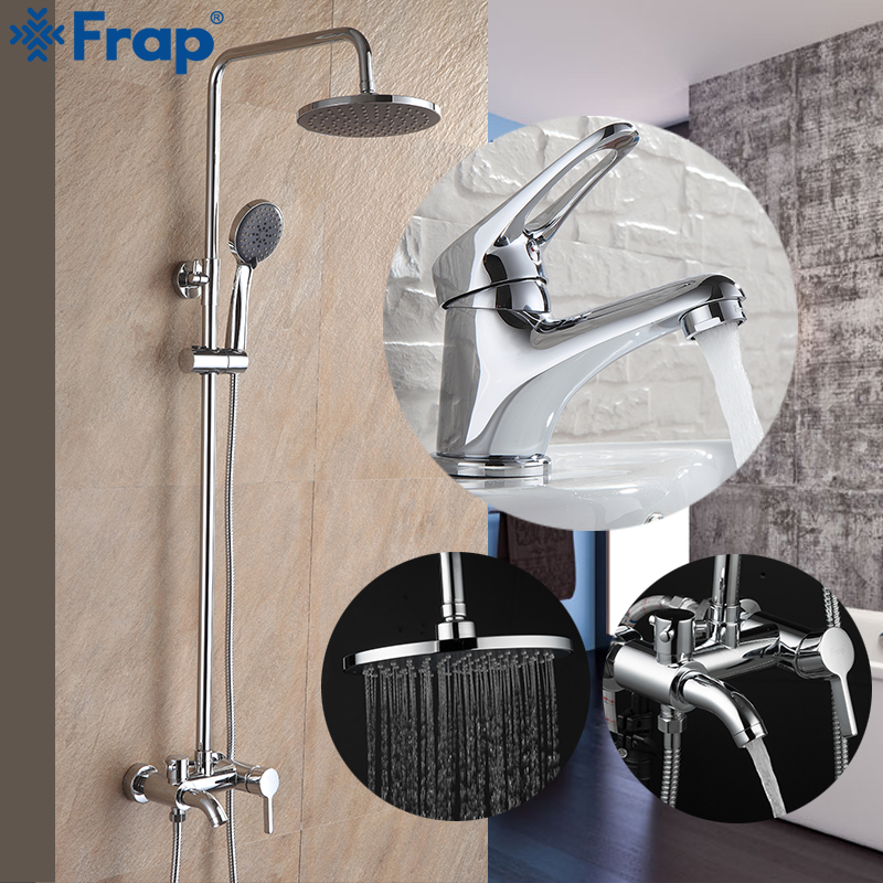 Frap New Arrival Bathroom Combination Basin Faucet and Shower Faucet Single Handle Cold and Hot Water