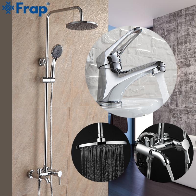смеситель с одной ручкой - Frap New Arrival Bathroom Combination Basin Faucet and Shower Faucet Single Handle Cold and Hot Water Mixer F2416 F1013
