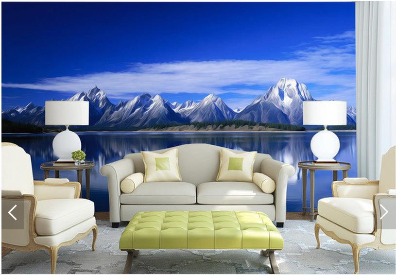 Custom 3d Mural Wallpapers Hd Landscape Mountains Lake: Custom 3d Photo Wallpaper 3d Wall Murals Wallpaper Snow