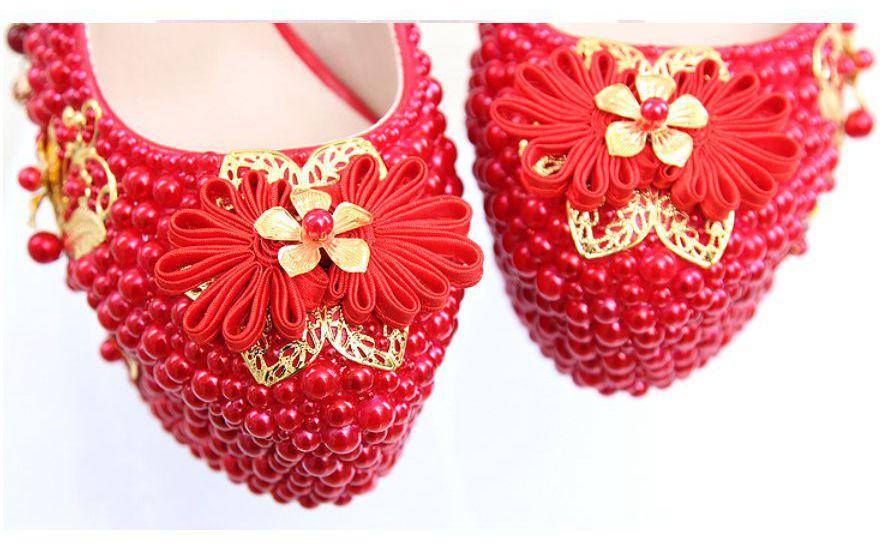 Pompes formes Chine 34 Perles Cristal En Chaussures 14 De Hs249 Haute Mariée Super Rouge Talons Taille Cm Chinois 39 Femme Plates Mariage xtqw6Fwn