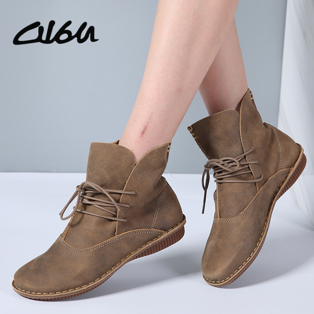 cb370f348a3c O16U Full Grain Leather Short Boots Women Lace up Retro Boots Flats Heels  Shoes Hand-made ankle boot Winter 2017 Female Footwear