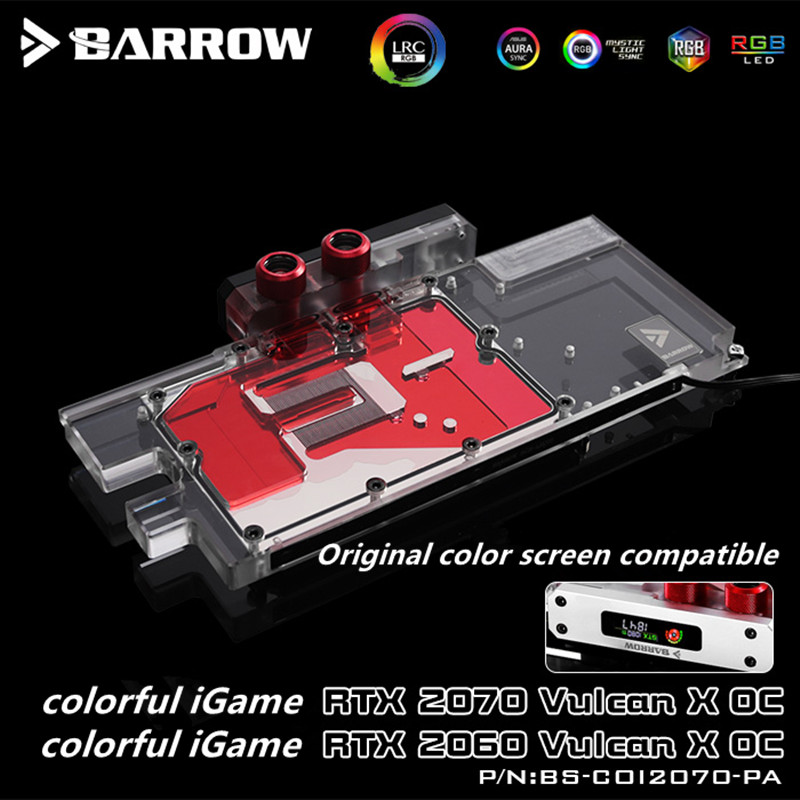 Купить с кэшбэком Barrow Colorful Flames Ares RTX2070 RXT2060 Full Coverage Graphics Cold Head Aurora BS-COI2070-PA