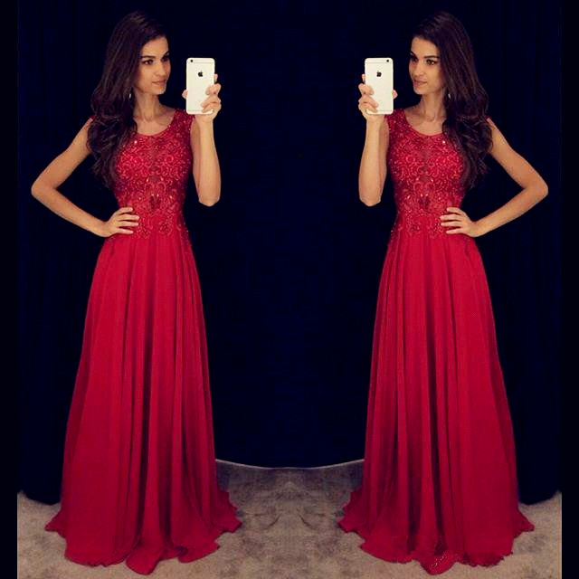 Red Prom Dresses Long 2019 robe de soiree abiye Elegant Sleeveless Evening Dress with Beaded Crystal Pageant formal Dress in Evening Dresses from Weddings Events