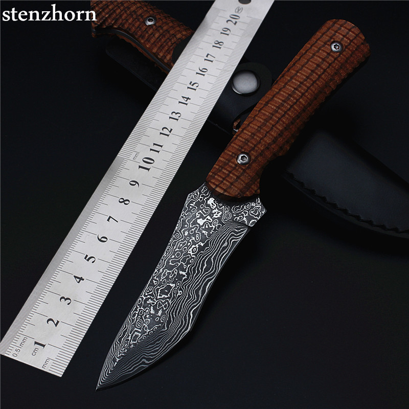 Stenzhorn Rushed Wood 2017 New Damascus Straight Knife Gift Collection High Hardness Fruit Self-defense Small for Sharp Tools stenzhorn new goods wei explorer outdoor small straight knife self defense survival camping with high hardness for sharp fruit