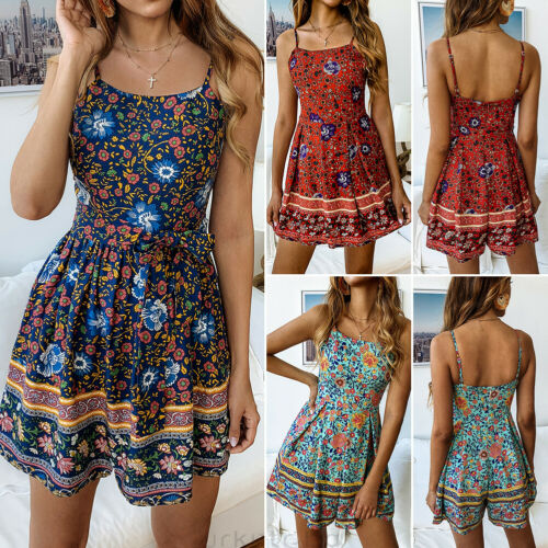Summer Women Casual Jumpsuits 2019 New Women Summer Casual Sleeveless Backless Loose Floral Jumpsuits in Rompers from Women 39 s Clothing