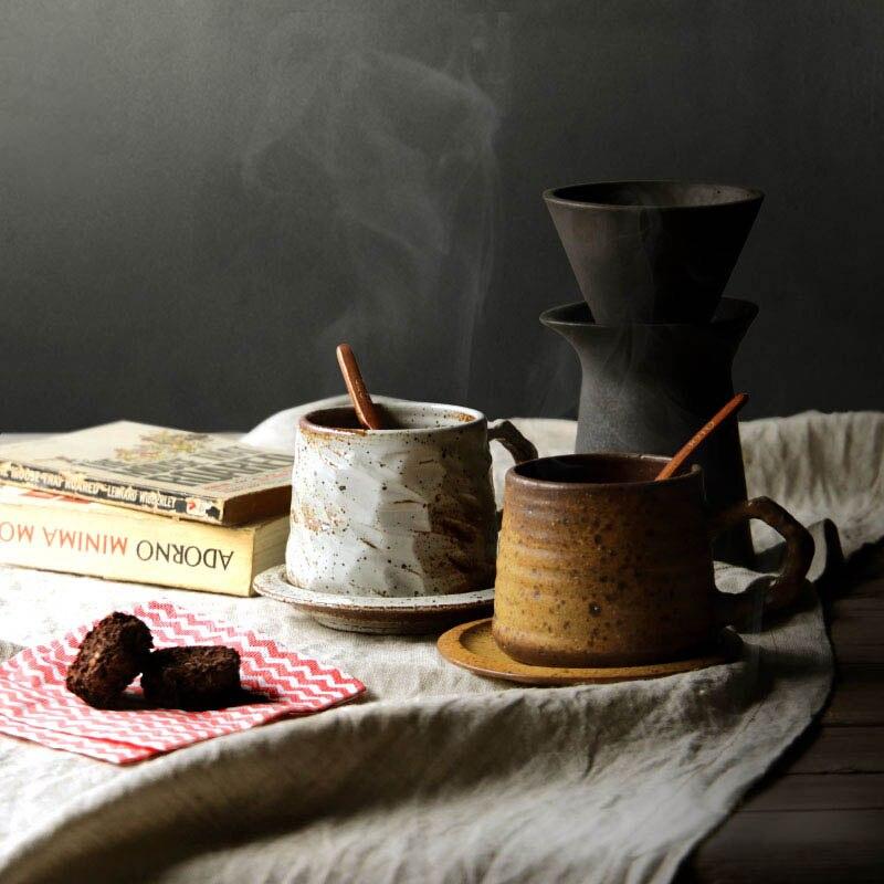 300 ml Pur À La Main Japonais Zen Cérémonie Céramique Rugueux, Poterie, Café Tasse Soucoupe Thé Noir Lait Tasse Tasse Verres avec cuillère