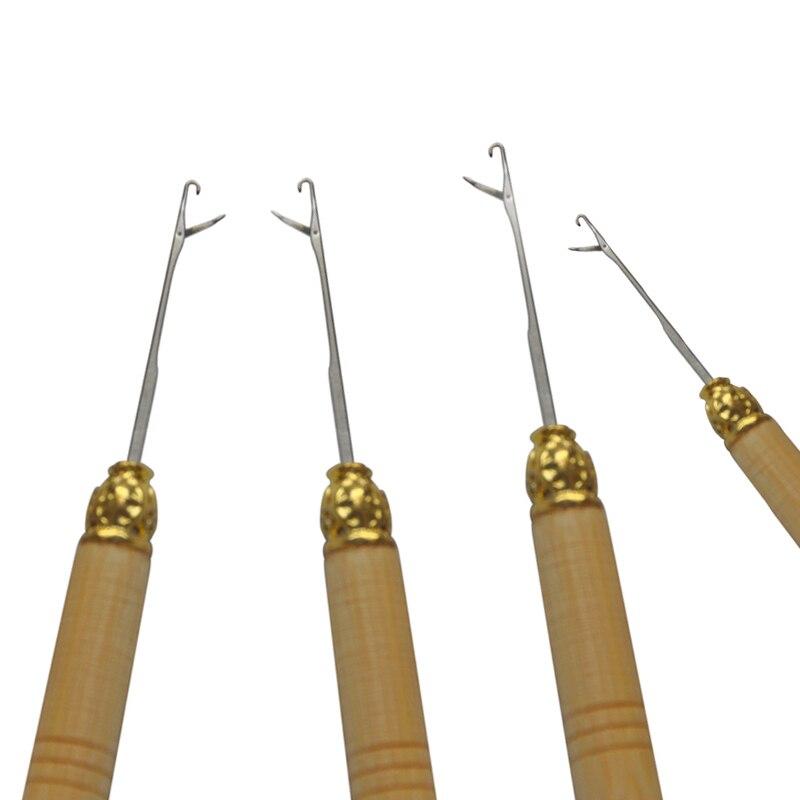 12шт / шт Дерев'яна ручка Голка-гачок інструмент для мікро кільця Extension Tool