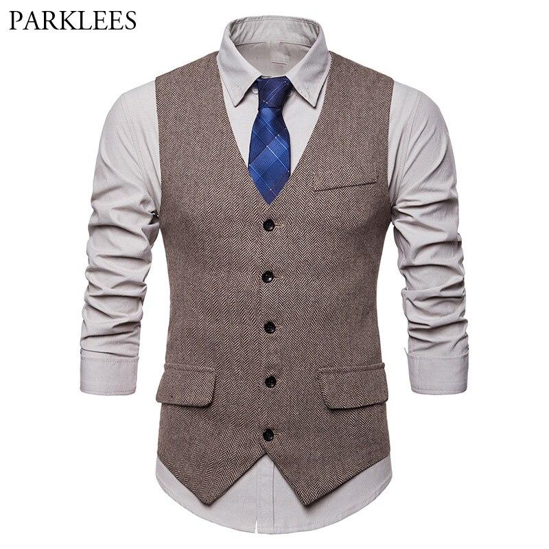 Hight Quality Woolen Suit Vest Men 2018 New Slim Fit Vest Waistcoat Mens Single Breasted Business Wedding Tuxedo Vests Gilet Men