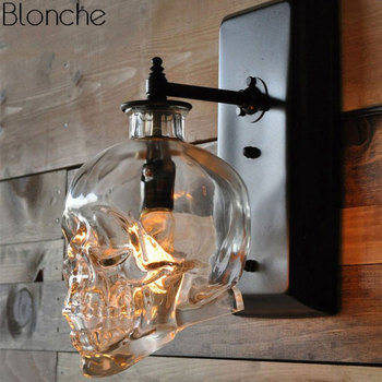Vintage Skull Glass Wall Lamp for Living Room Bedroom Bottle Wall Sconce Lights Fixture Loft Industrial Home Decor Luminaire E14