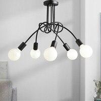 Modern Lustres LED Ceiling Lamp E27 Korean Black White Ceiling Lights Living Room Hanging Lamp Light