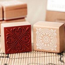 New Creative Vintage Flower Lace Square Wooden Rubber Stamp Seal Scrapbook DIY Paper Craft Decorative Art Decor Supplies