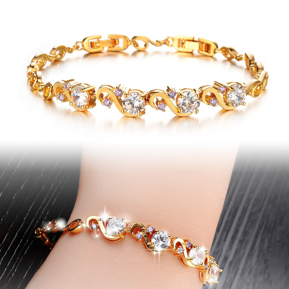 zoom women pink rose crystal bracelet plated swarovski gold subtle