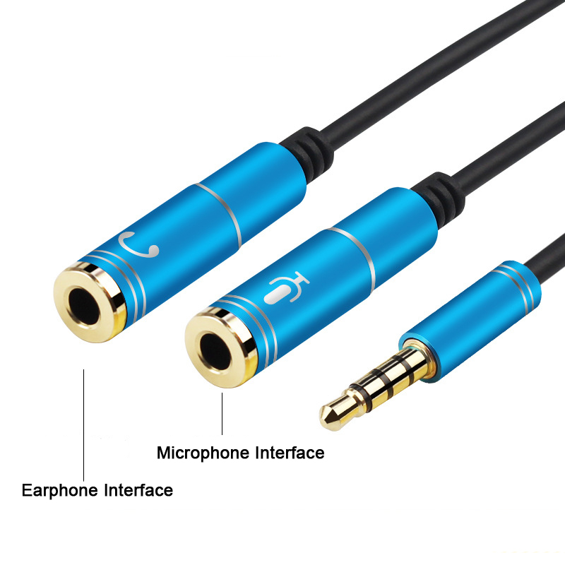 VOXLINK Universal 3.5mm Stereo Audio Male to 2 Female Headset Mic Y Splitter Cable Adapter Connector for Mobile phone