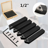 5Pcs 1 2 Indexable Carbide Insert Turning Tool Bit Lathe Set C6 Chipbreaker Black For Metal