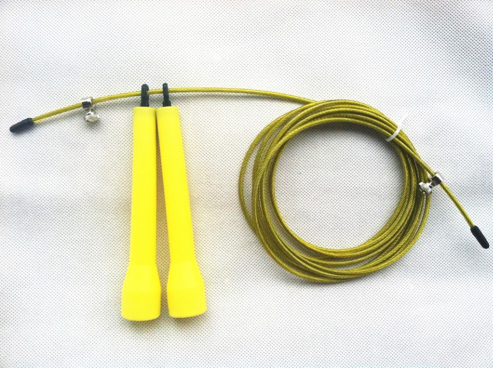 YELLOW Women Crossfit Skipping Speed Ropes New Wire Jump Skip Rope - Fitness and Bodybuilding
