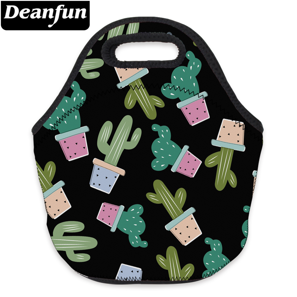 Deanfun 3D Printing Lunch Bag Cactus Neoprene With Zipper Portable For Children Picnic 73096
