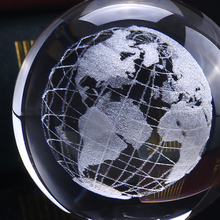 6cm 3D Crystal Earth Ball Glass Laser Engraved Miniature Earth Model Sphere Crystal Craft Home Decor Ornament Gift Globe