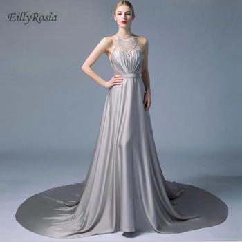 2018 Elegant Gray Mother of the Bride Dresses Beading Crystals Sheer Back A Line Formal Women Evening Gowns abendkleider abiye