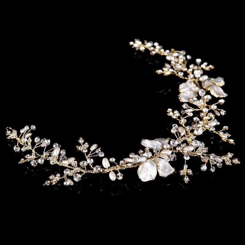 Baroque Pearl Rhinestone Crystal Gold-Bow Headband Bridal Tiaras Halo Wedding accessory Bridesmaid Hair Jewelry Bride Headdress