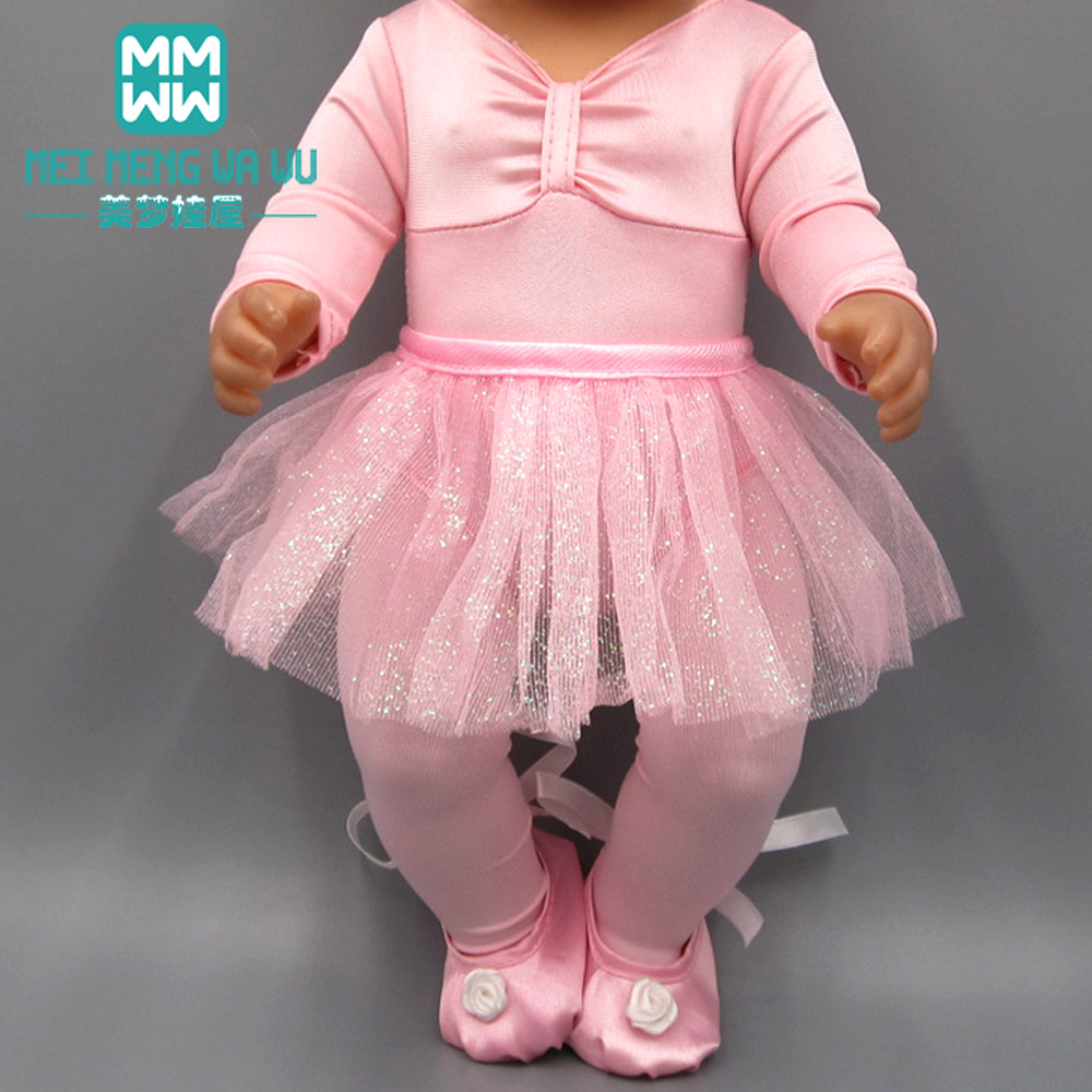 Clothes For Doll Fit 43-45cm Bald Head Baby Toy New Born Doll And American Doll Fashion Ballet Princess Dress