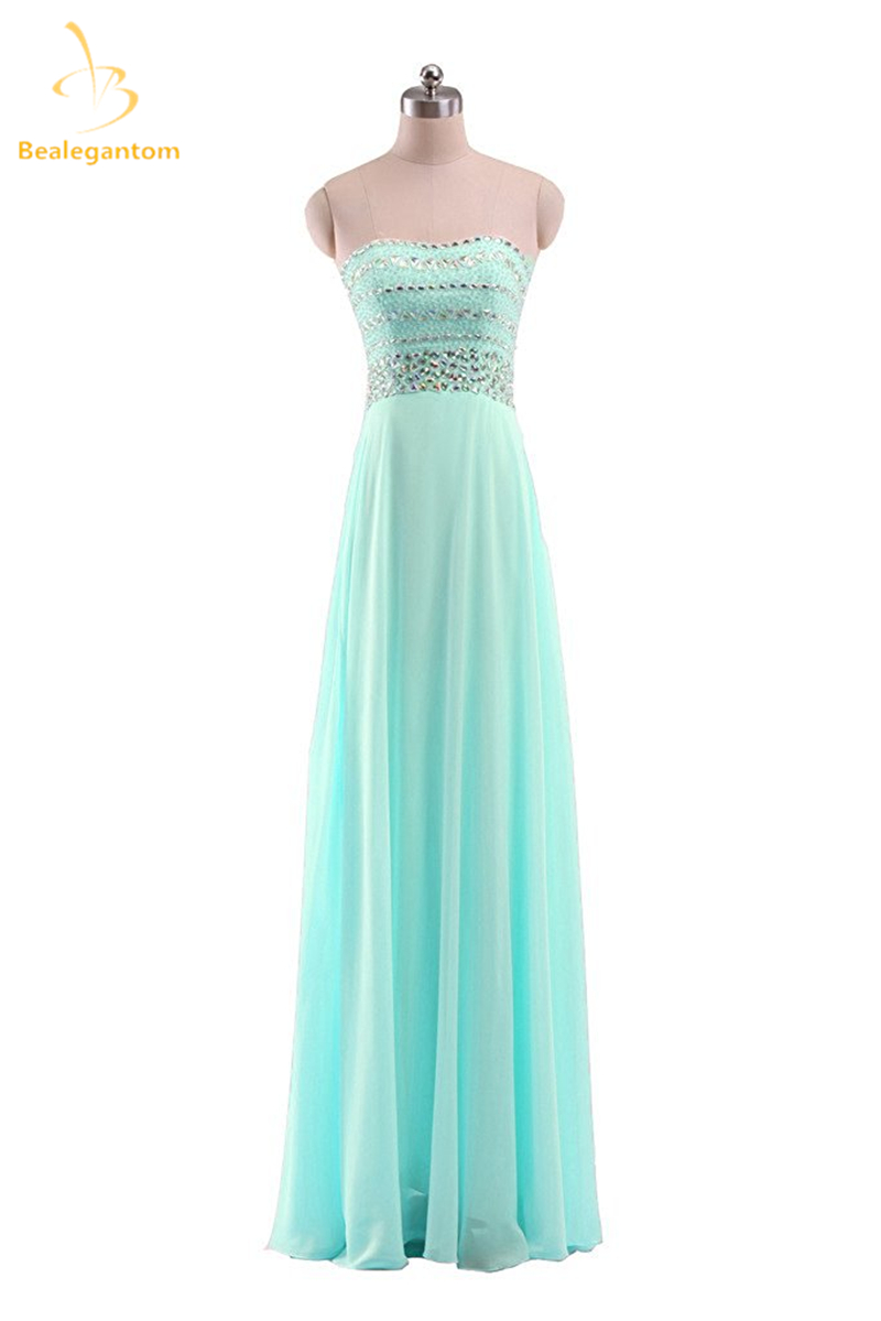 Bealegantom A-Line Mint Green   Prom     Dresses   2019 With Chiffon Cystal Plus Size Evening Party Gowns Vestido Longo QA1092