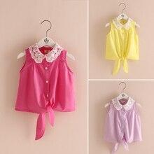 2016 Summer Female Lace Turn-Down Collar Baby Child Girl Sleeveless Soild Colour Shirt