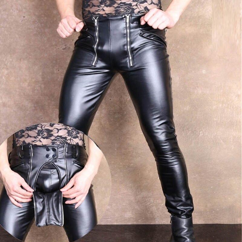 Sexy hommes grande taille U poche convexe ouvert entrejambe crayon pantalon PU Faux cuir Punk pantalon serré Lingerie érotique Gay Wear