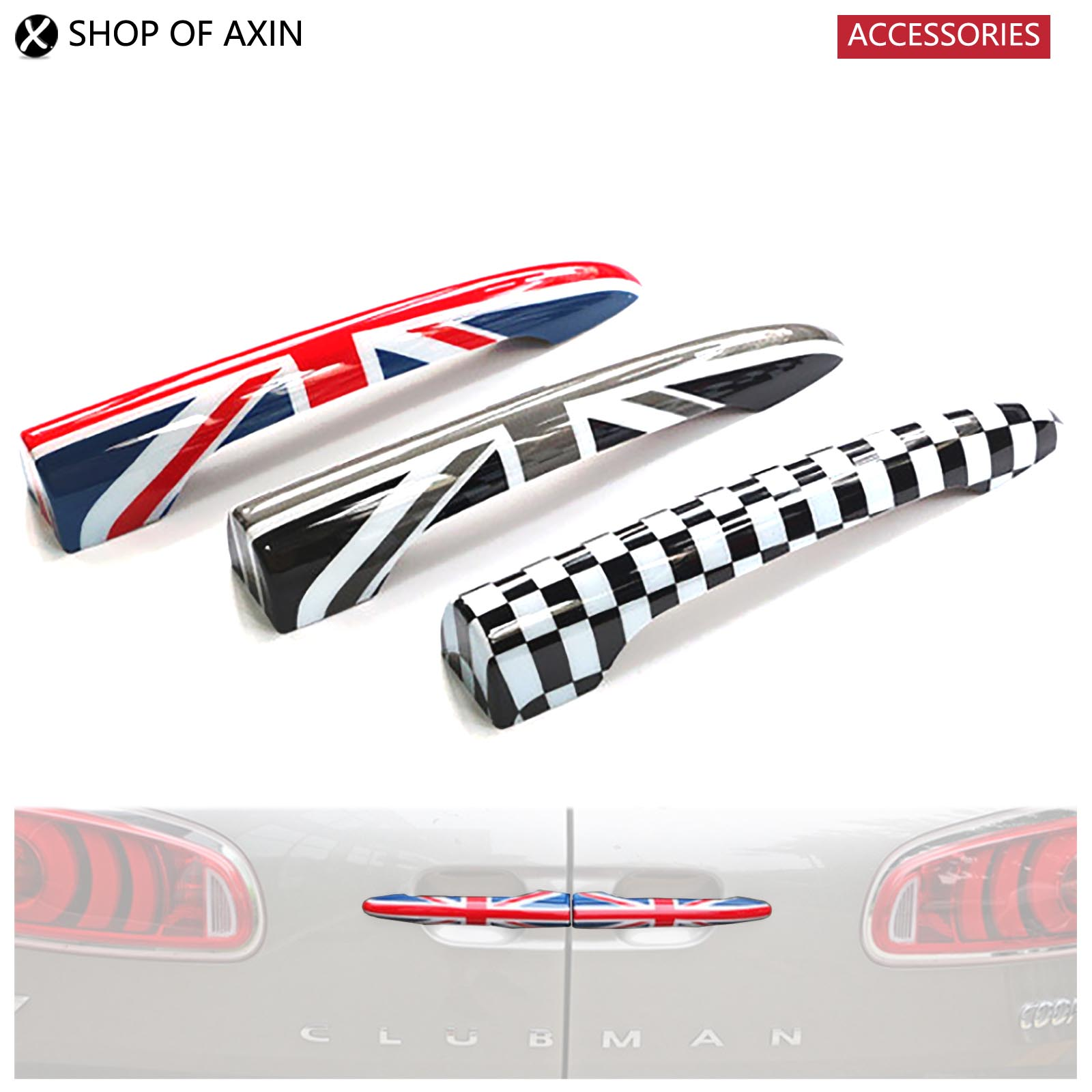 Mini Car Rear Door Handle Decoration Moulding Cover Smooth Surace (Union Jack, Grey UK, Checkered) For Mini Cooper Clubman F54 2016 mini clubman one coopers side door power window switch center console panel covers accessories car stickers for f54 6 door page 6