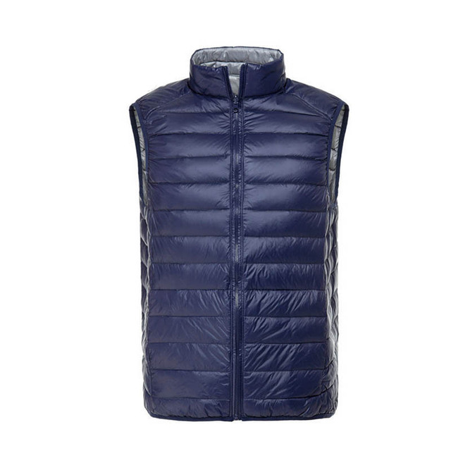 Duck Down Vest Men Ultra Light Double Sided Zipper Puff Gilet Casual Reversible Vests Jackets Sleeveless Waistcoat Jackets 712