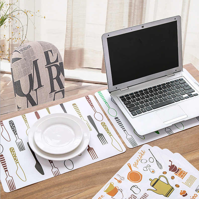 40*28cm Non-Slip Placemat Waterproof  Printed Dining Table Mat PP Plastic Heat-insulated Tableware Bowl Pads Kitchen Accessories