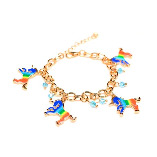 Unicorn Bracelet Women Pulsera Unicornio Brazalete Rainbow Femme Friendship Gifts Animal Charms Bracelets Bracciale Donna
