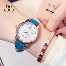 2018 New Fashion Brand GUOU Women Watches Luxury Golden Leather Ladies Watch Women Dress Clock Calendar relogio feminino цена в Москве и Питере