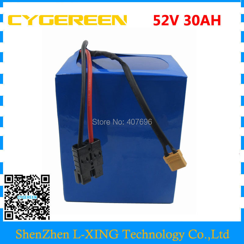 Free customs duty 2500W 52V 30AH Lithium battery 51.8V 30AH Electric bike battery use 3.7V 5000MAH 26650 cell 50A BMS 4A Charger