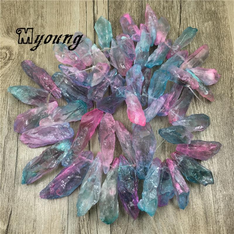 Raw Rainbow Crystal Quartz Stick Spike Beads,Nature Stone Quartz Druzy Beads For DIY Jewelry MY1931 best 524 rainbow natural quartz crystal healin b1