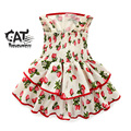 Baby girls dresses 2017 new baby clothing sweet cute strawberry slip pleated costume for girls summer infant party dress