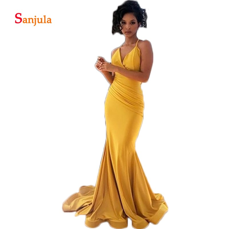 Yellow Spandex Mermaid   Bridesmaid     Dresses   V Neck Spaghetti Straps Formal   Dress   for Women Pleats Maid of Honor   Dresses   D303
