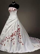 Bealegantom 2019 New Sexy Sweetheart Embroidery Satin Wedding Dresses Beaded Lace Up Bridal Gowns Vestido De Novia QA1473