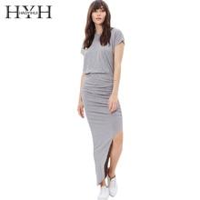 HYH HAOYIHUI Woman dress gray party dinner party New Year fashion fold purse waist Dress sexy asymmetrical hem dress недорого