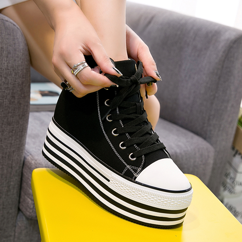 dc11a85f8149 Sneakers 10cm Height Up Top High Lace New Creeper Canvas Wedge Heel Women s  Black Fashion Platform ...