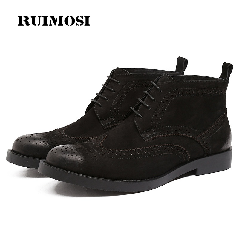 RUIMOSI Vintage Round Toe Cow Suede Man Wing Tip Brogue Shoes Genuine Leather Male Footwear Men's Cowboy Martin Ankle Boots XE77