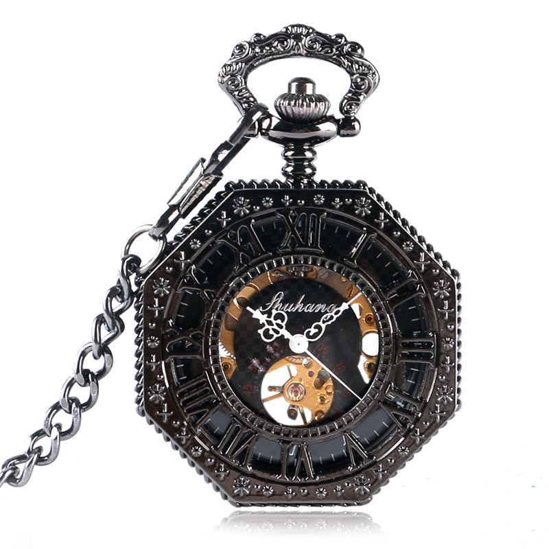 Relogio Octagon Design Carving Steampunk Mechanical Hand Wind Pocket Watch Men Roman Numbers For Men Women Fobs Clock Gifts