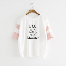 kpop 2018 Hot Sale Star The Same Letter Printed T-Shirt Women Summer Style Fashion Casual 100% Cotton Female T Shirts k-pop EXO