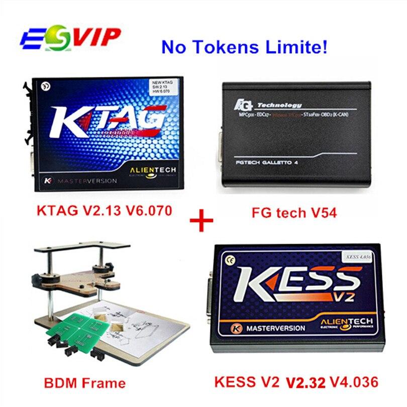 imágenes para Nueva Kess V2 OBD2 Gerente de 4.036 V2.32 + 2.13 FW6.070 K-TAG Ktag k-tag ECU Programador Fgtech Galletto 4 Master v54 + Adaptador Marco de BDM