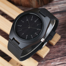 цены Watch Men Minimalist Sport Ebony Wood Watch Male Quartz Round Dial Genuine Leather Trendy Casual Man Clock Hours Reloj de madera