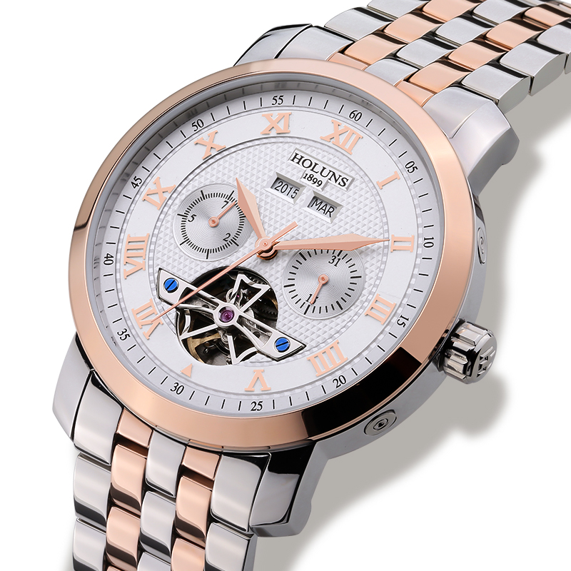 Luxury  HOLUNS watch men  Tourbillon waterproof date week stainless steel  Automatic Mechanical wristwatch relogio masculine luxury aluminum watch